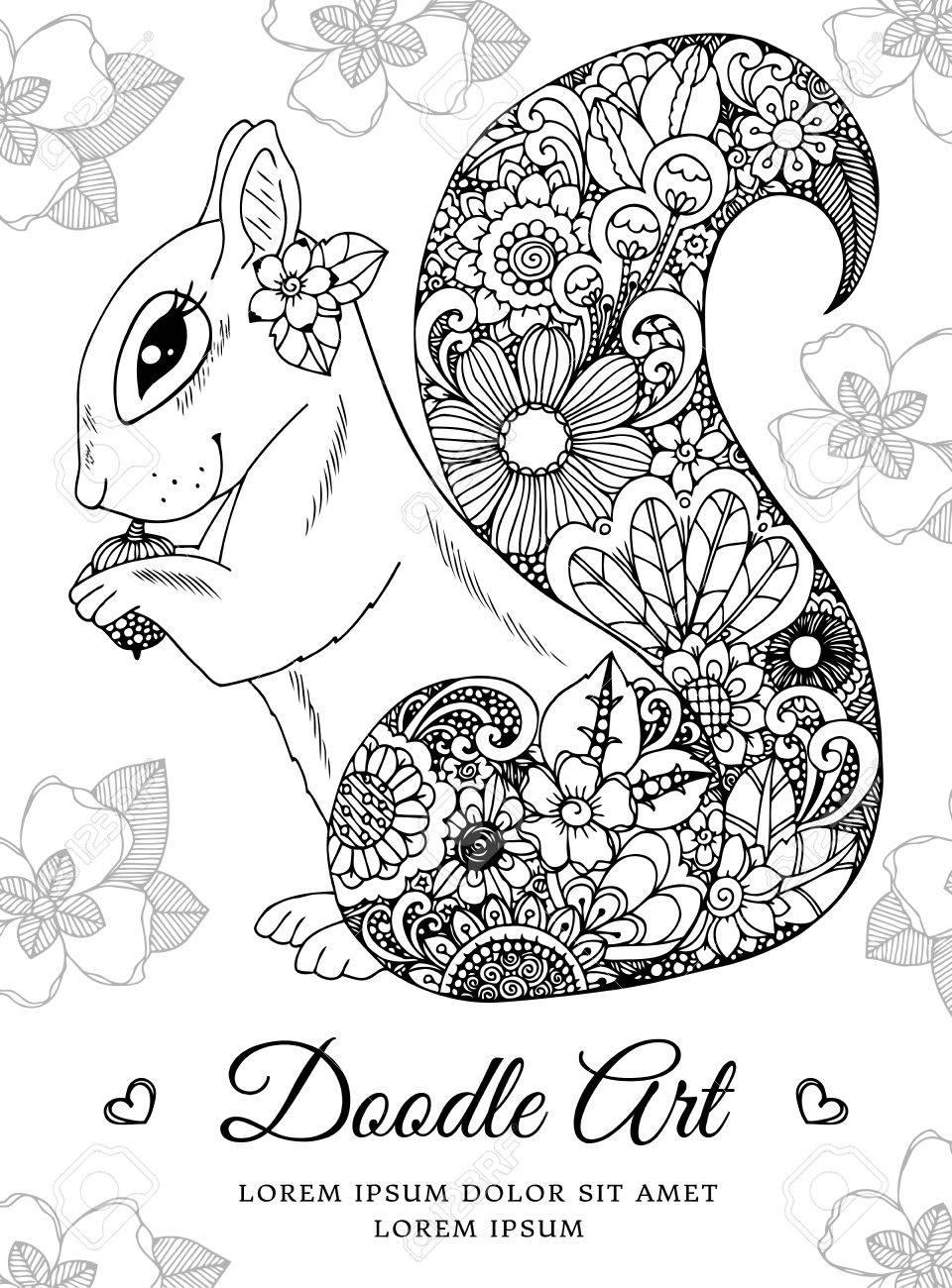 Ilustración Vectorial, Ardilla Con Flores. Dibujo Del Doodle. Dibujo ...