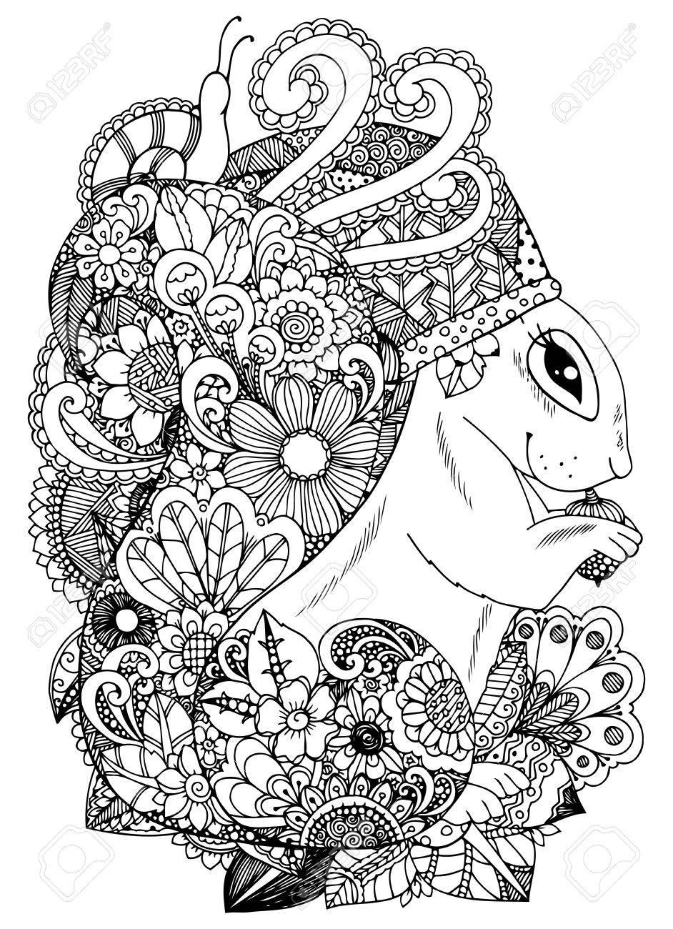 Illustration Vectorielle écureuil Aux Fleurs Dessin De Griffonnage