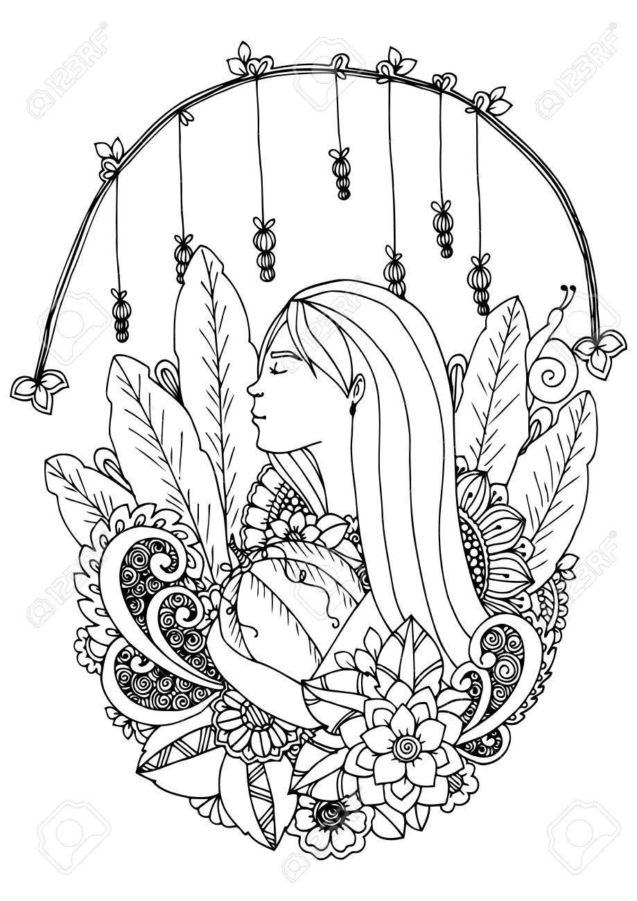 Illustration Zentangle Mädchen Mit Kürbis. Gekritzelzeichnung ...
