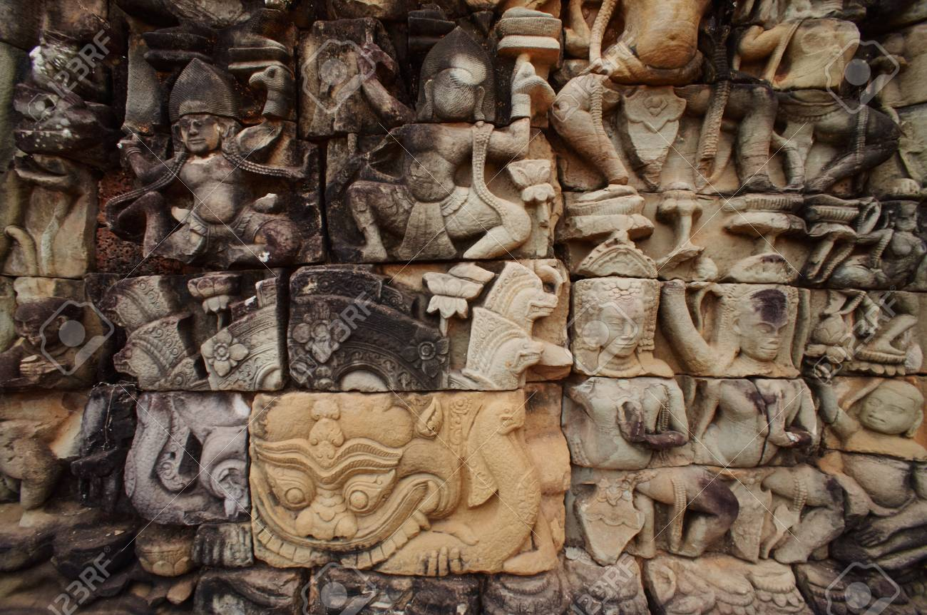 Relief carvings in ankor wat stock photo picture and royalty free