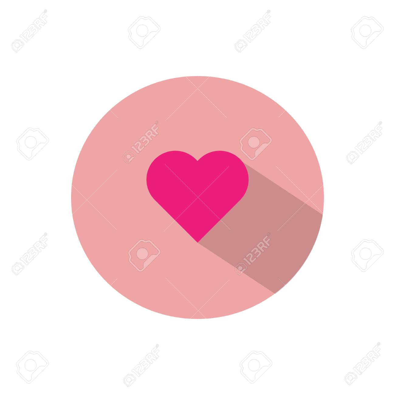 Heart Emoticon Symbol Flat Style Shadow Royalty Free Cliparts