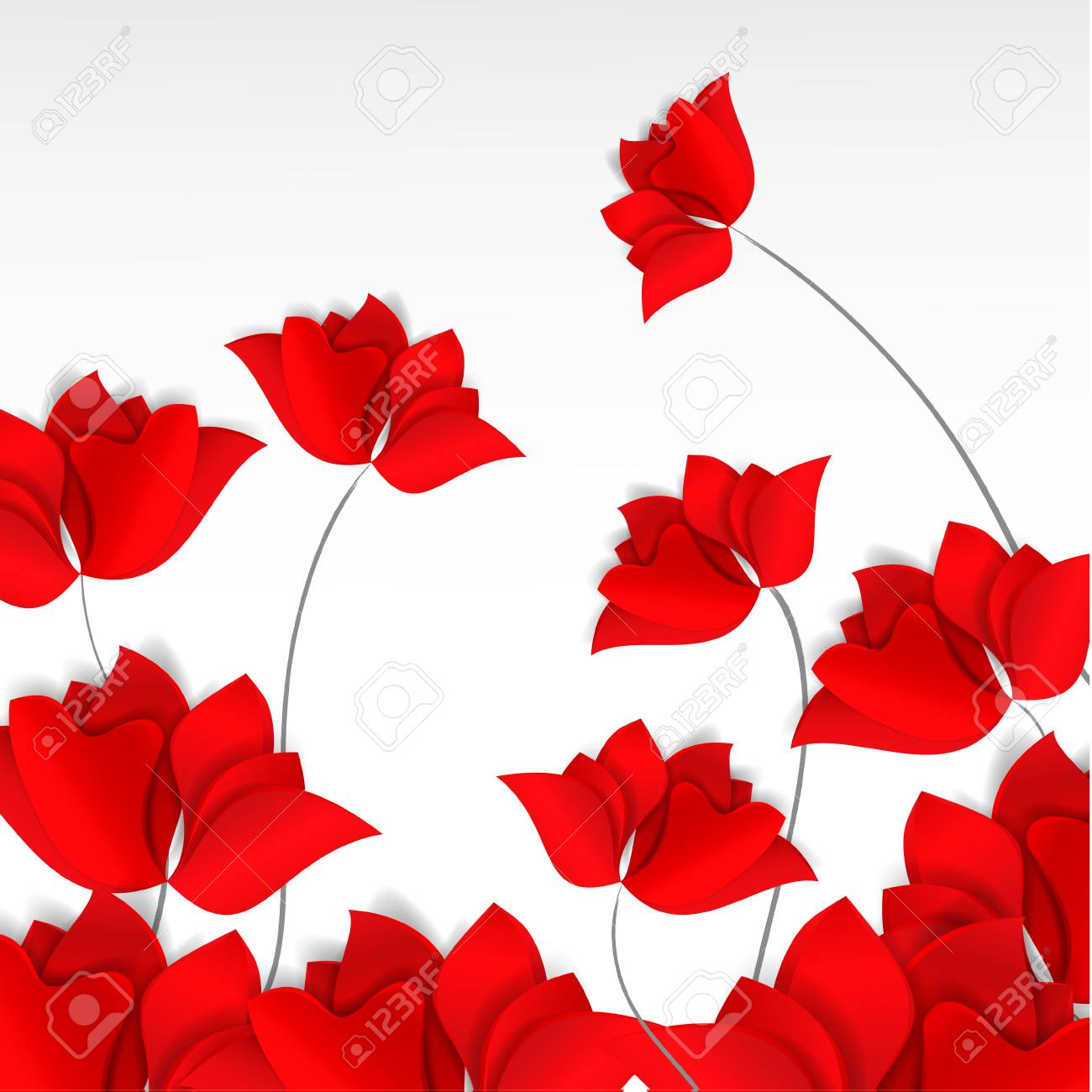 Bright paper,cut style red flowers field on white background