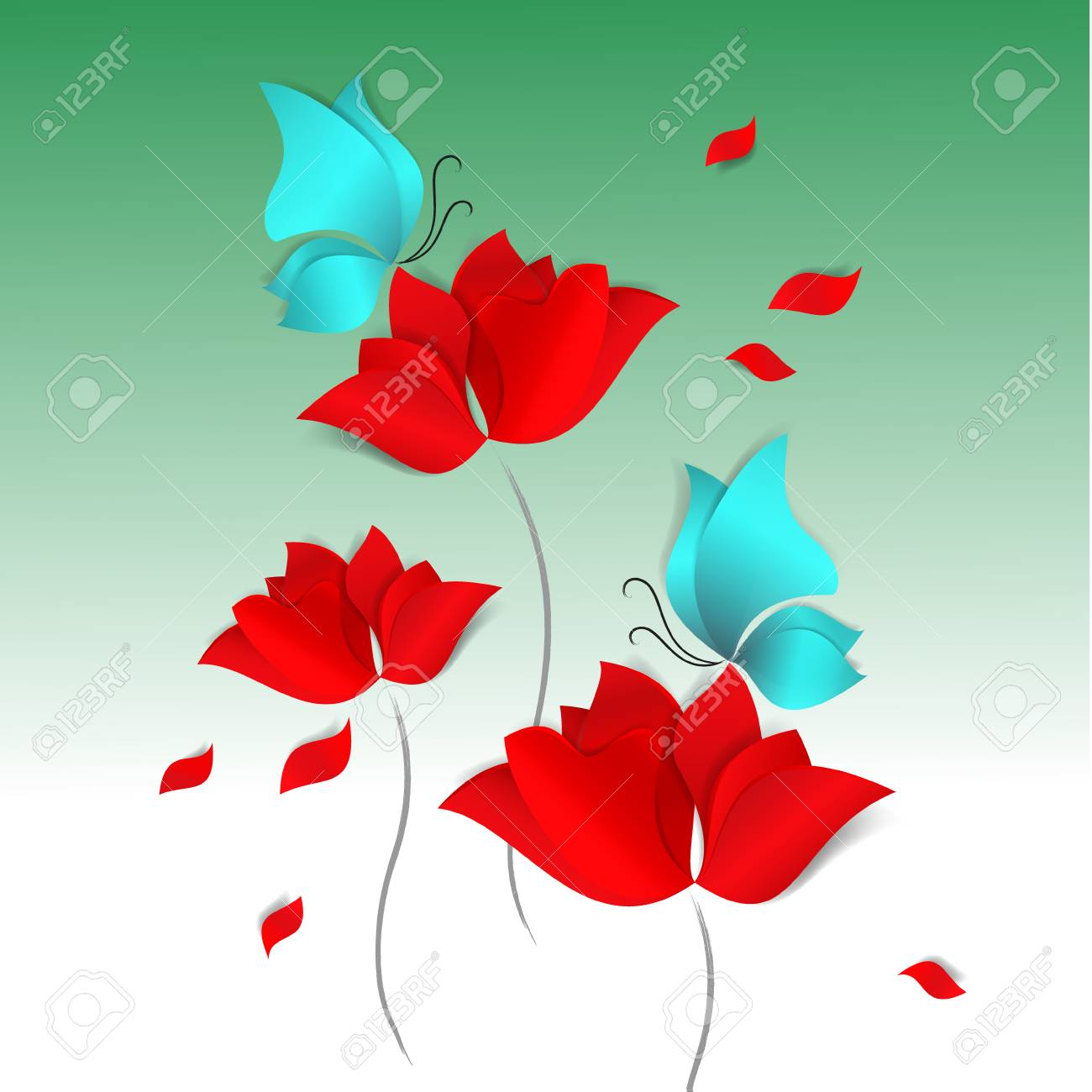 Spring Paper Cut Style Card On Green Background Red Flowers