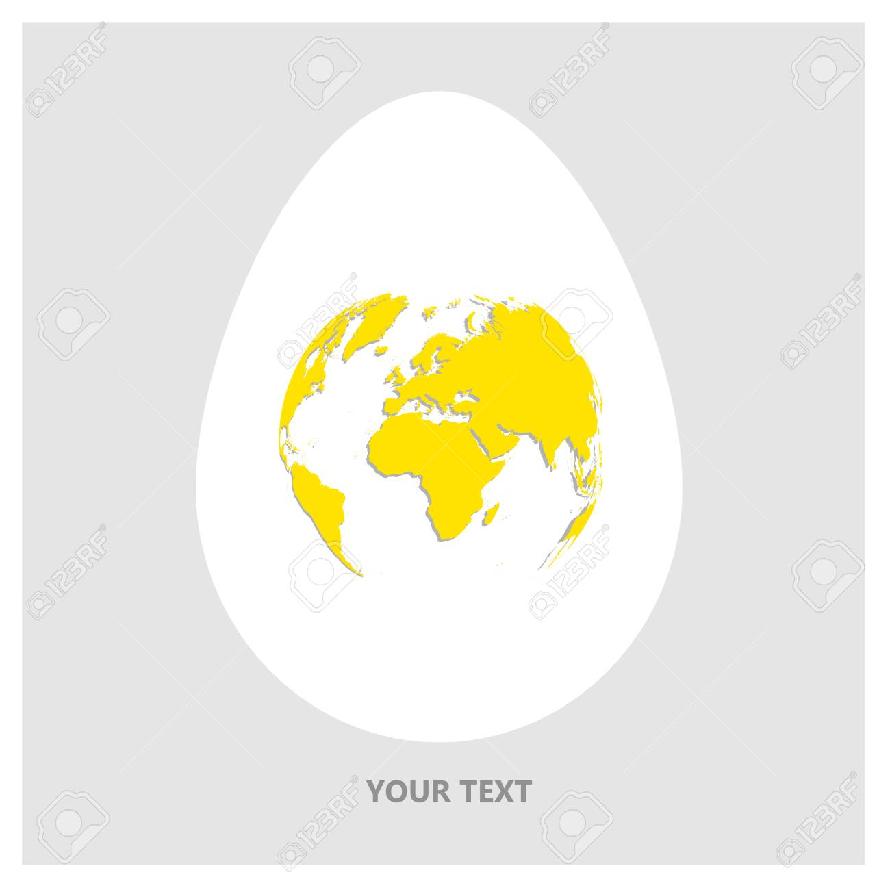 Flat vector logo white egg with yellow world map planet earth flat vector logo white egg with yellow world map planet earth in form of egg gumiabroncs Gallery
