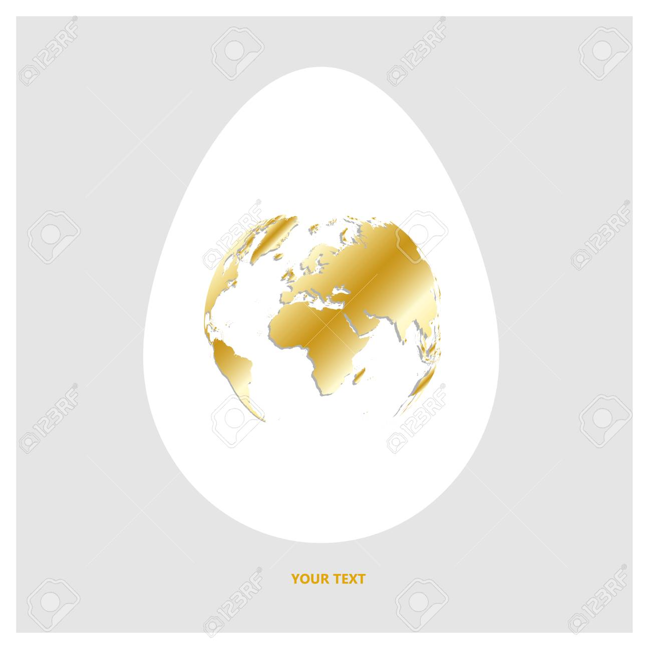Flat vector logo white egg with shining golden world map planet flat vector logo white egg with shining golden world map planet earth in form of gumiabroncs Gallery