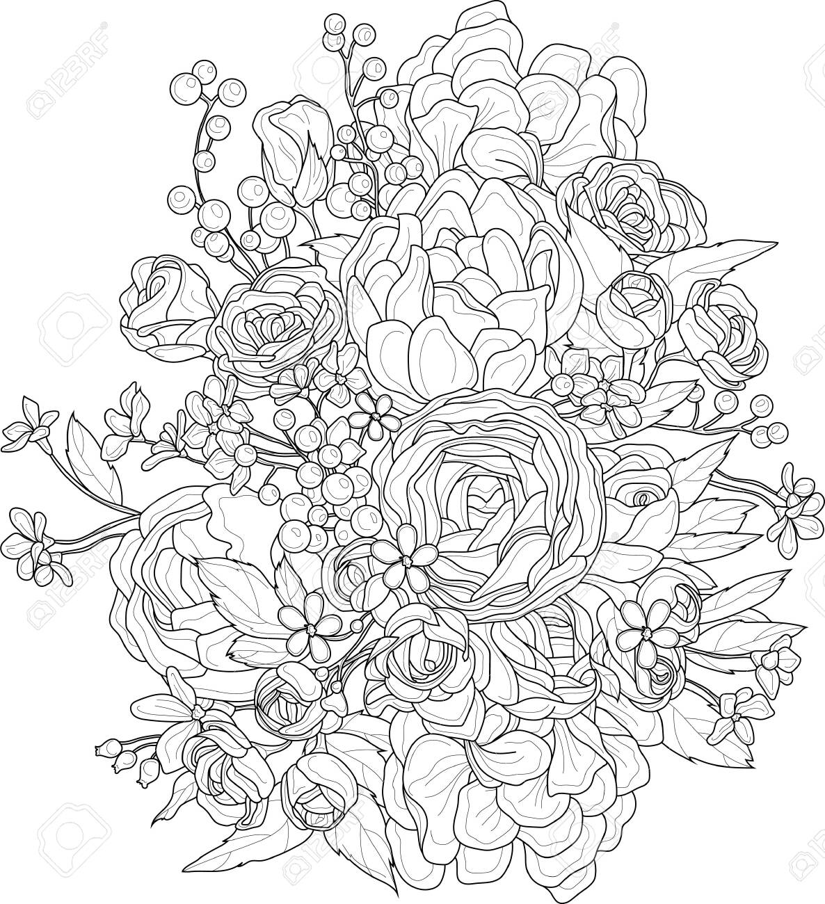 Realistic mix flowers bouquet with roses, peony and small berries and flowers sketch. Vector illustration in black and white for games, background, pattern, decor. Print for fabrics. Coloring paper - 154738077