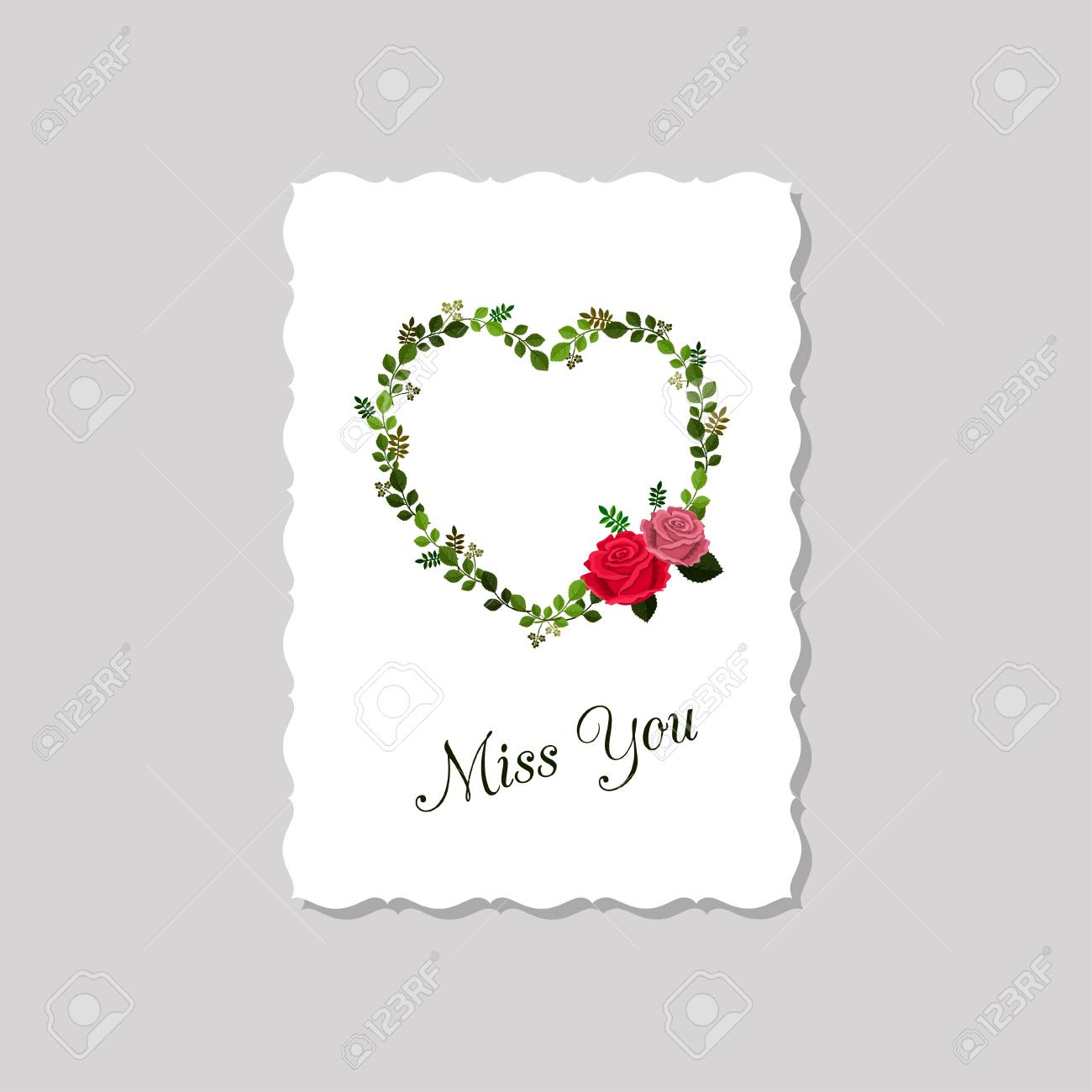 Vector Illustration Of Greeting Card Miss You Decorated With Roses