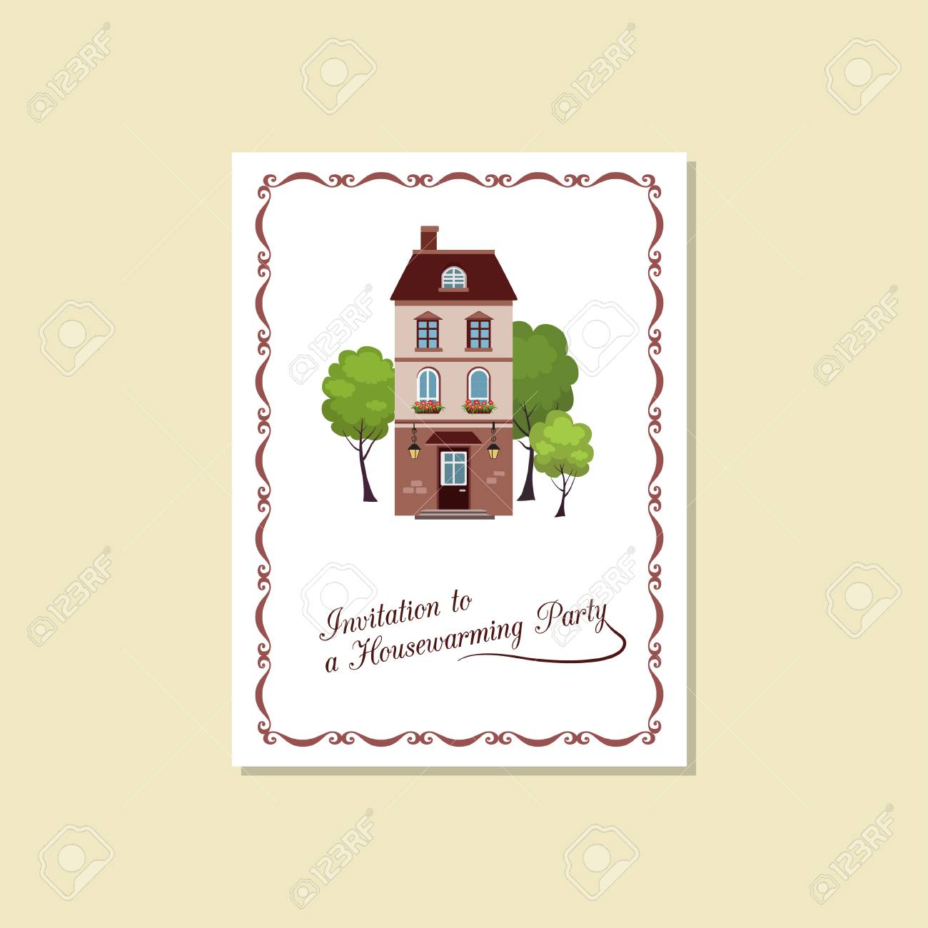 Vector Illustration Of Card Invitation House Warming Party