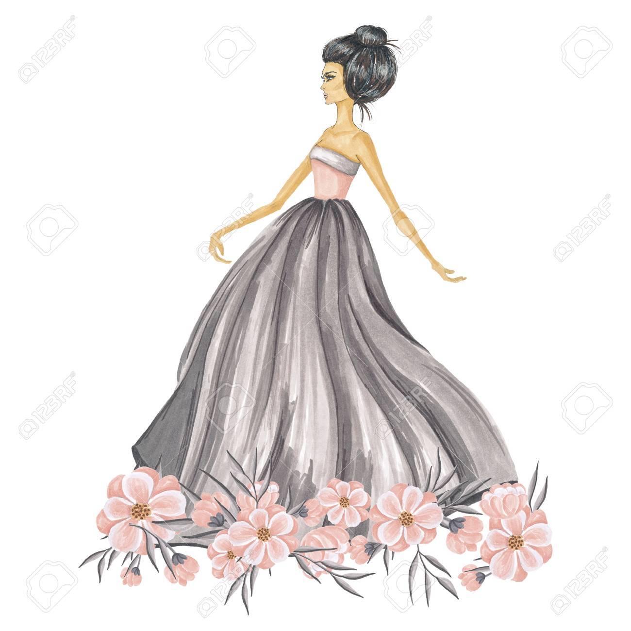 花イラストと手描きファッションの女の子 の写真素材画像素材 Image