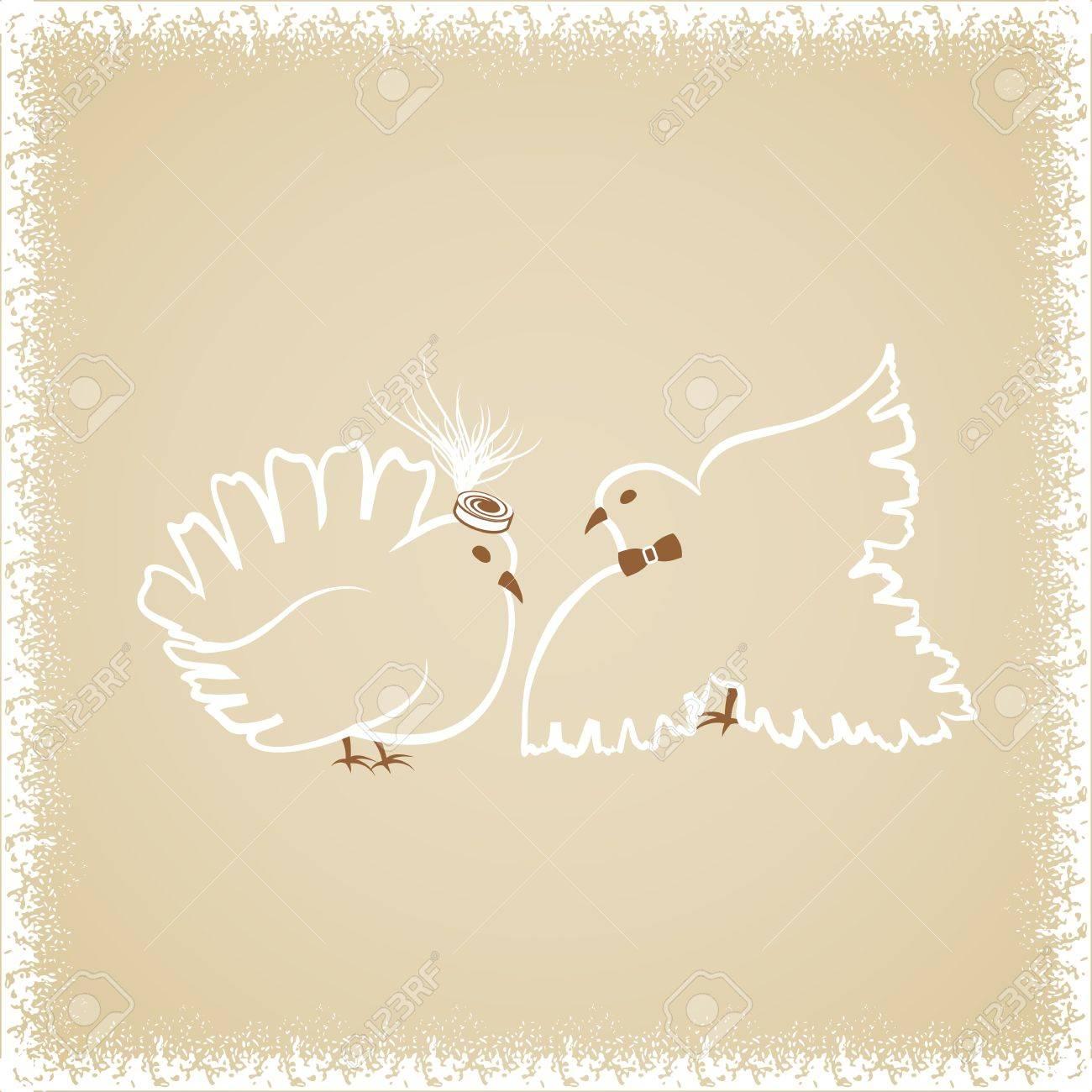 Pencil Sketch Two White Dove Wedding Invitation Stock Vector