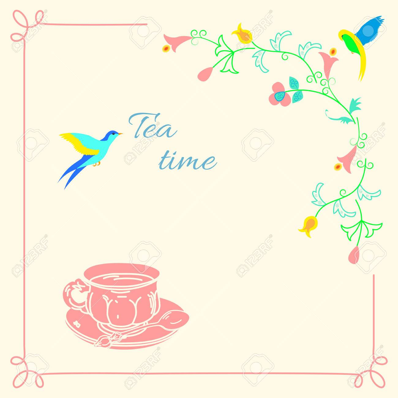 Hand-Zeichnung Tee-Tasse Und Rahmen Mit Fabelhaften Blumen Und Vögel ...