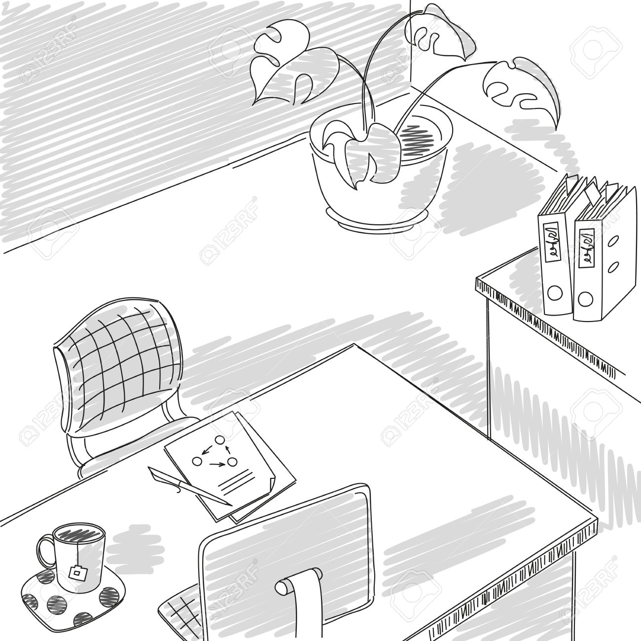 Office Sketch Graphical Drawing Design Interior Office Workplace