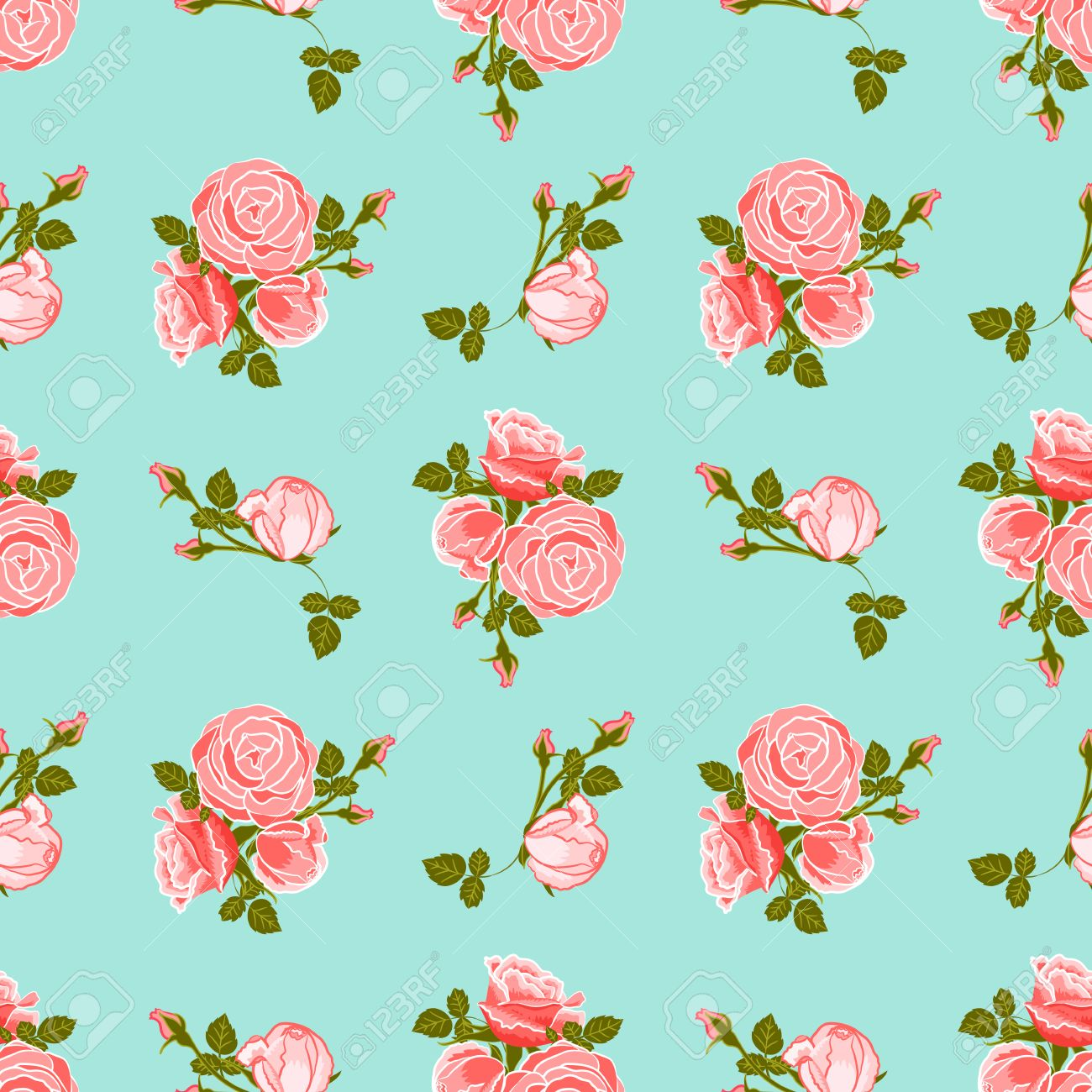 Classic Wallpaper Seamless Vintage Flower Pattern On Blue Background Stock Vector