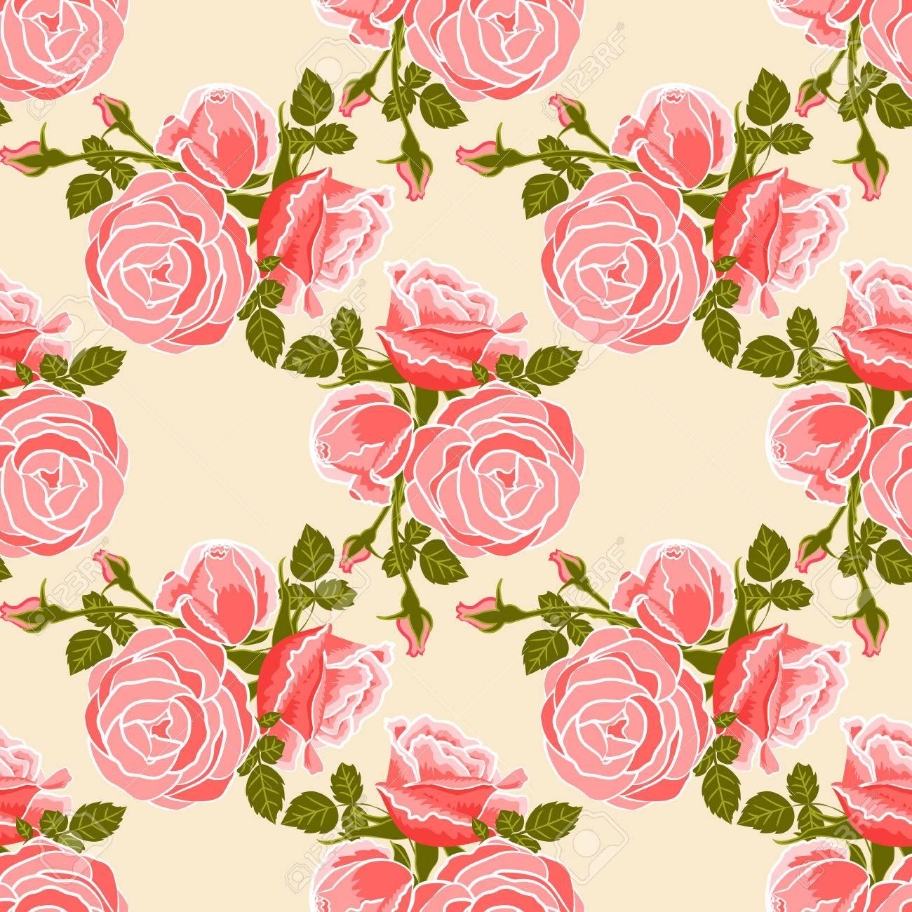 Papier Peint Classique Seamless Fleur Vintage Sur Fond Creme Clip