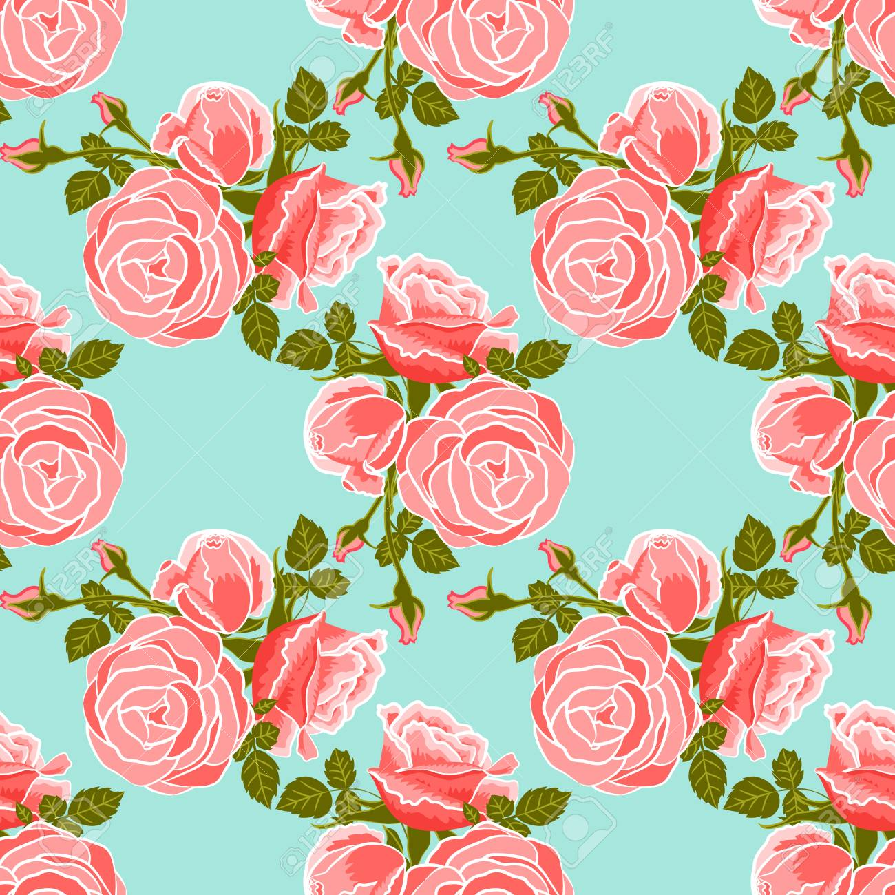 classic wallpaper seamless vintage flower pattern on blue background