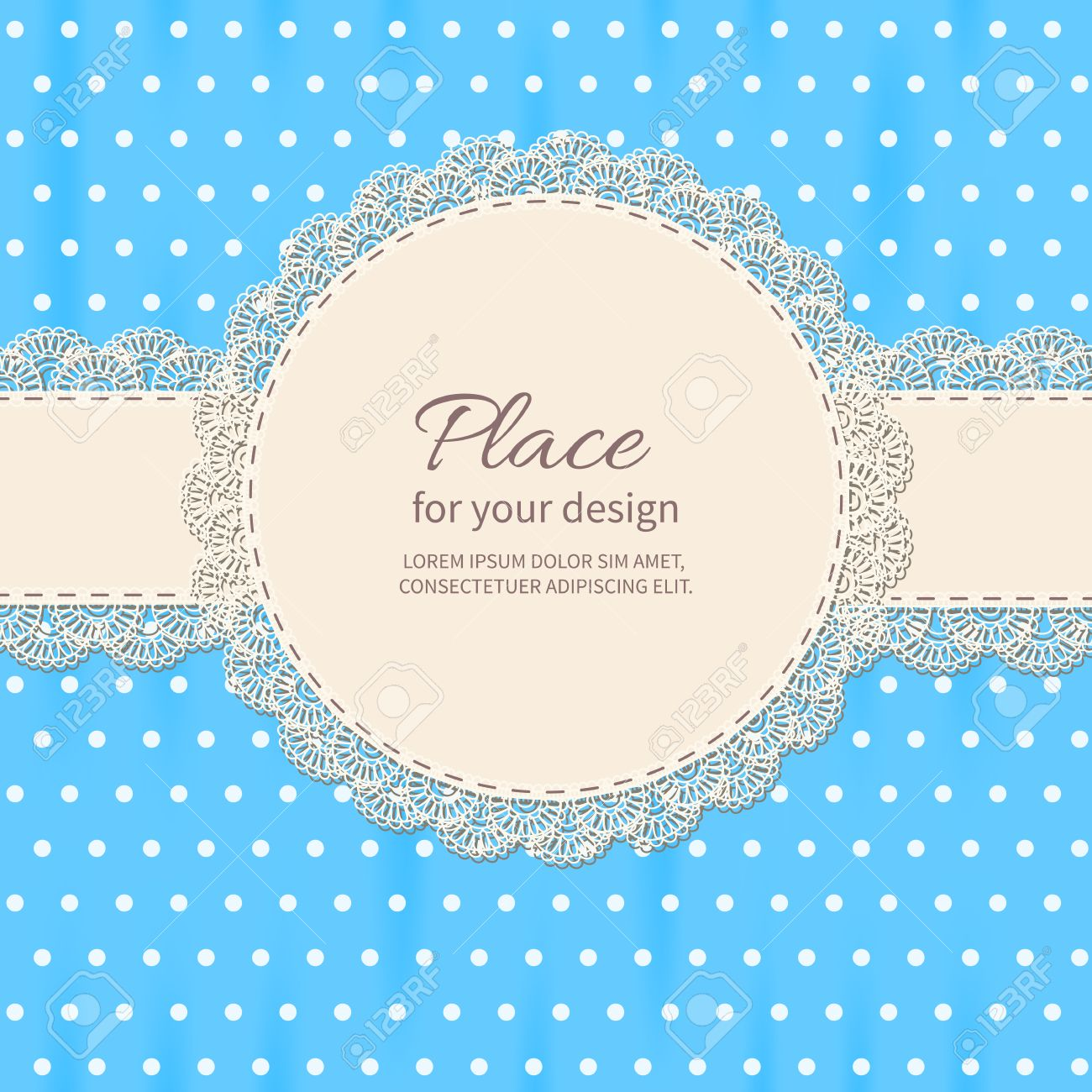 Retro background with lace and polka-dot wallpaper.Baby shower frame. Stock Vector