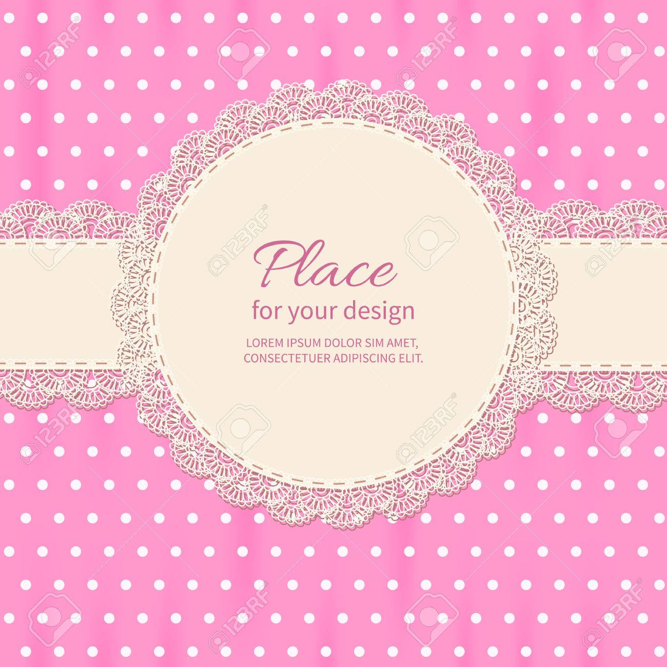 Retro Background With Lace And Polka Dot Wallpaper Baby Shower Royalty Free Cliparts Vectors And Stock Illustration Image 45243666