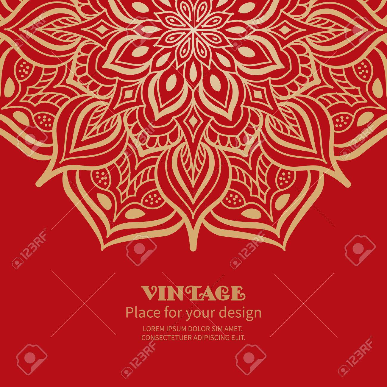 Wedding Invitation Or Greeting Card With Floral Ornament On Red ...