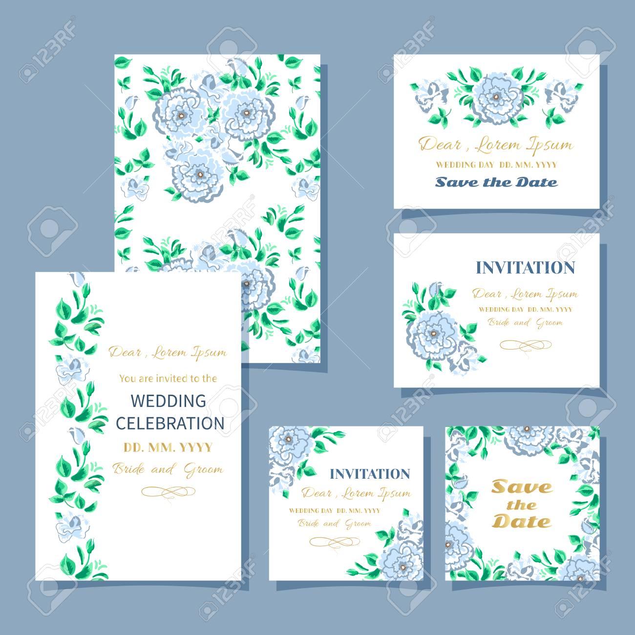Gruß Oder Einladung Postkarte Hochzeit Tag Blumen Grenze Rosen  Standard Bild   52090380
