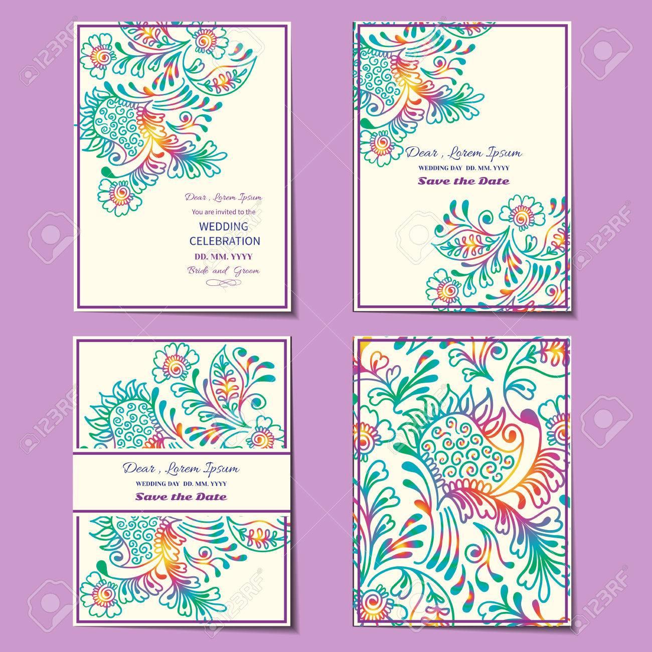 Vintage floral backgroundt wedding card or invitation border set wedding card or invitation border openwork pattern with mehndi motive stock stopboris Images