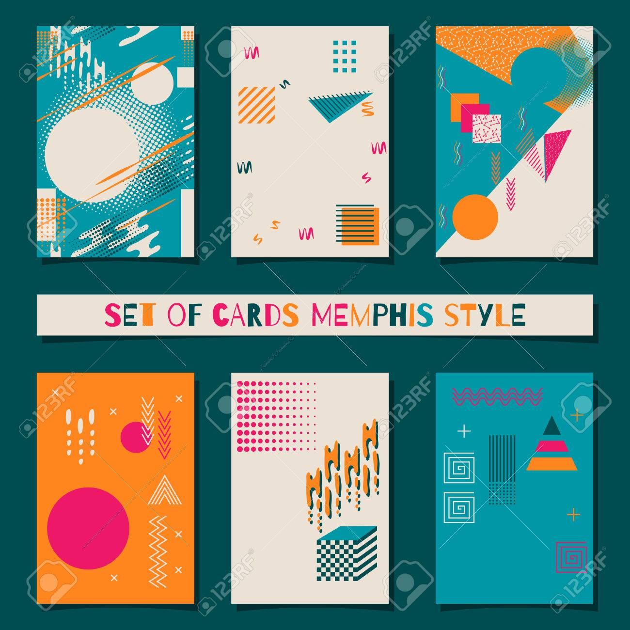 set of cards memphis style background with trendy geometric elements