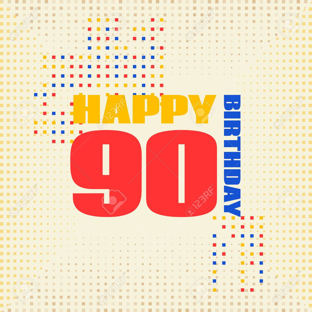 Tarjeta De Aniversario 90 Años Birthday Design Para El Cartel O La Invitación Estilo De Memphis