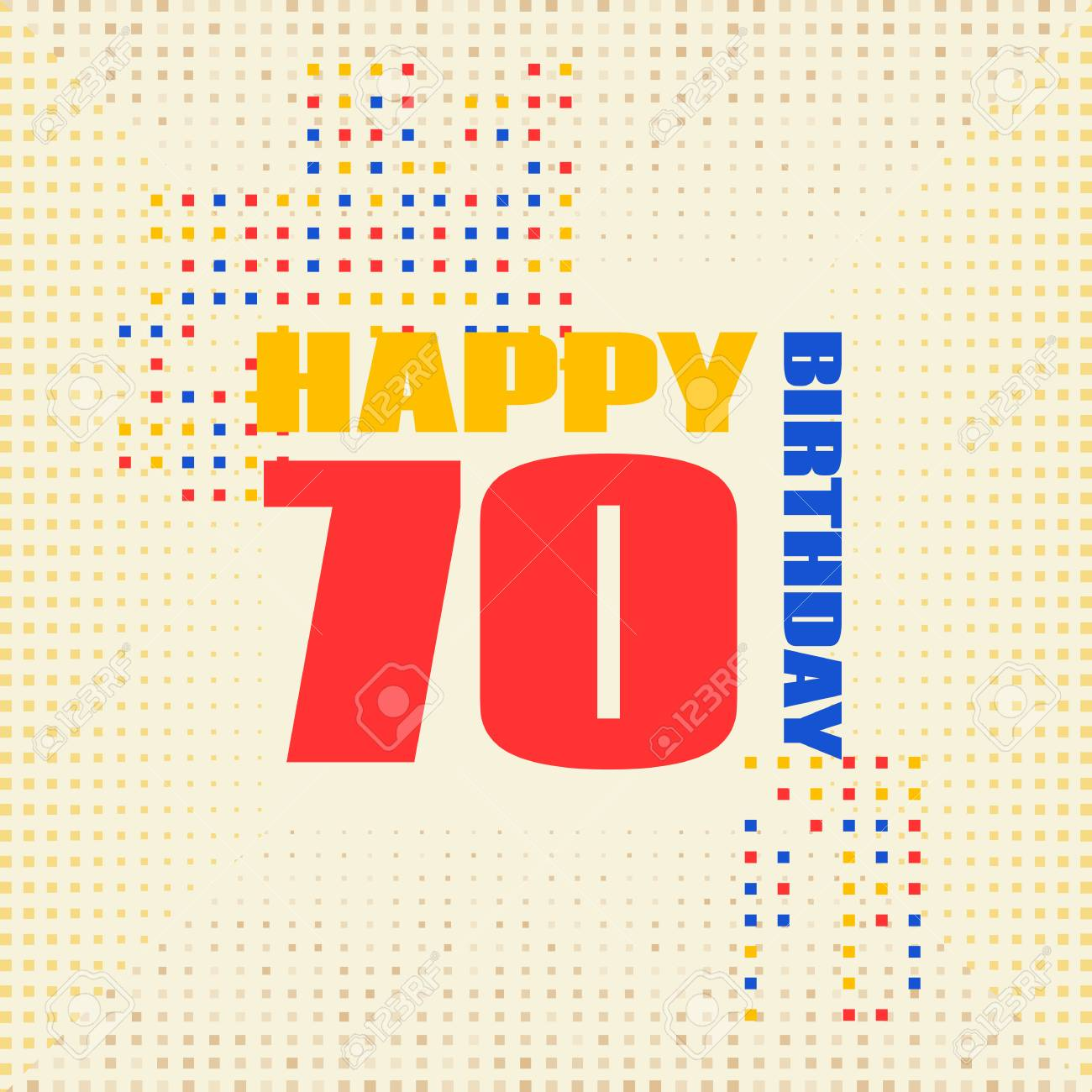 Tarjeta De Aniversario 70 Años De Cumpleaños Diseño Para Póster O Invitación Estilo De Memphis
