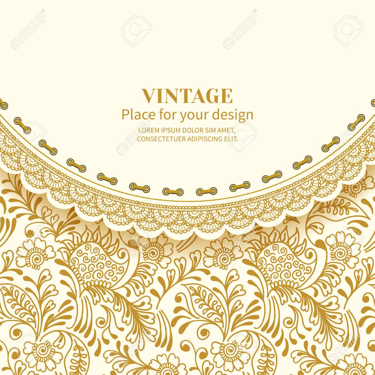 Invitation card or greetingame with lace on vintage background invitation card or greetingame with lace on vintage background seamless with golden mehndi pattern stopboris Images