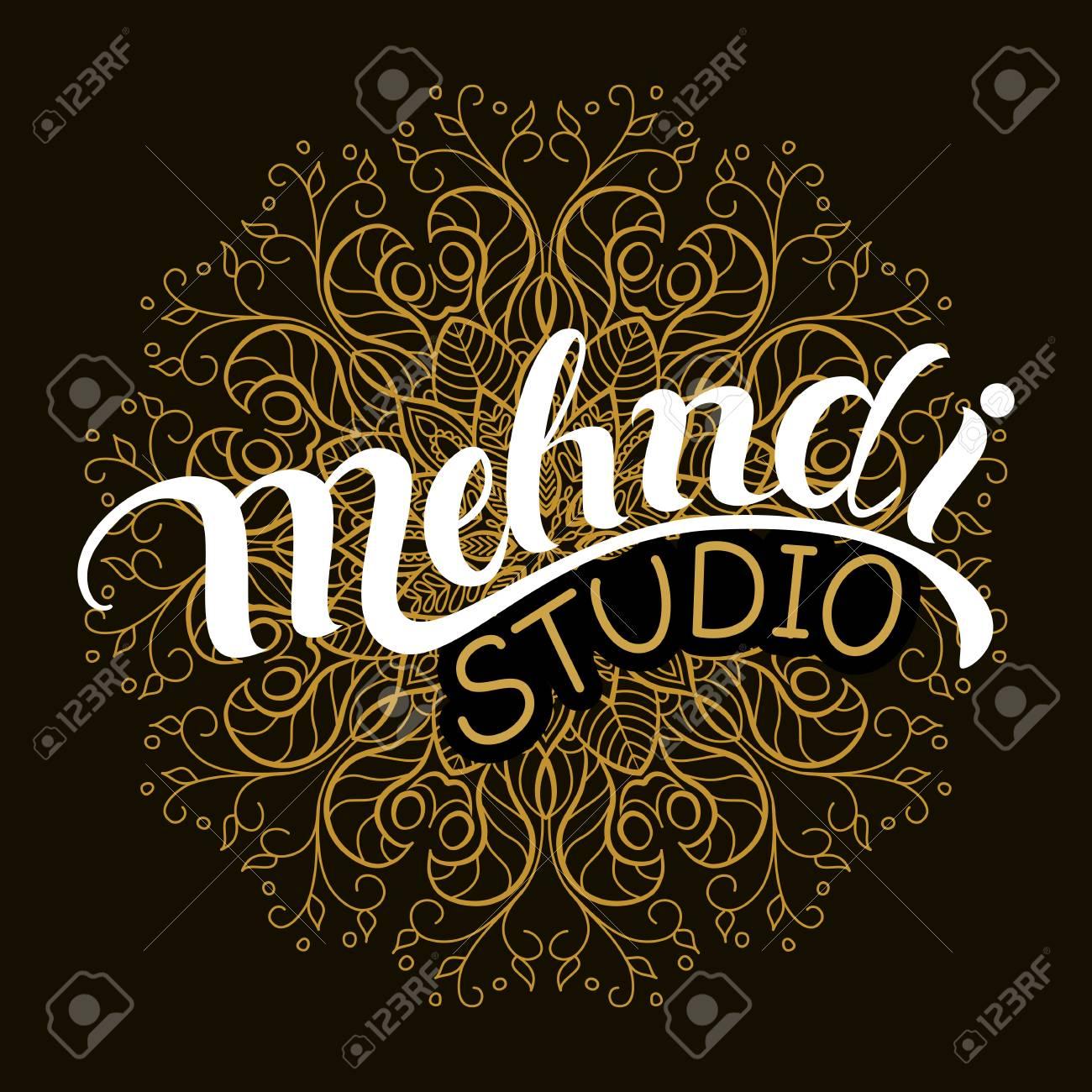Mehndi Studio Hand Drawn Logo Traditional Indian Style Elements