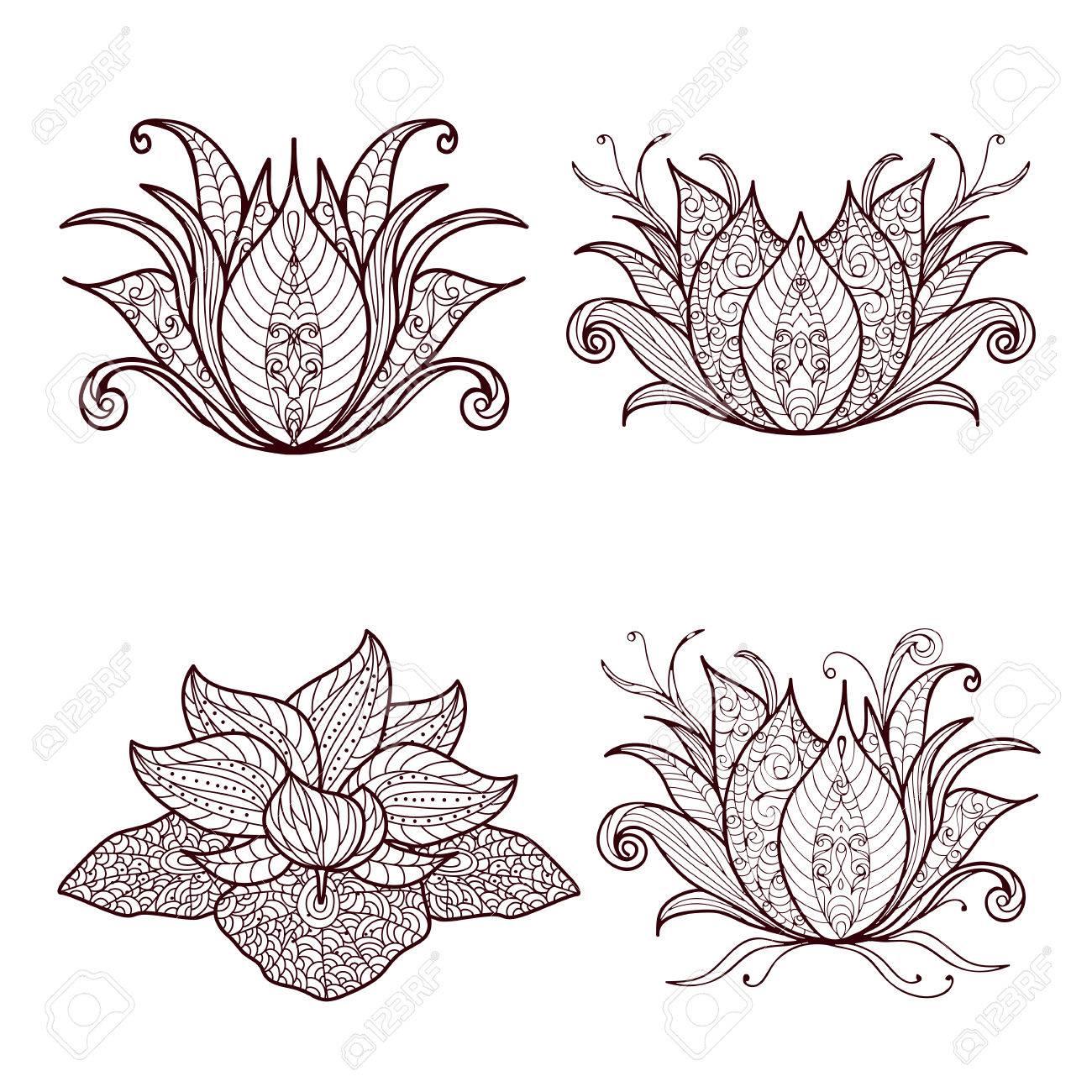 Fiore Di Loto Tattoo Disegno.Vettoriale A Mano Insieme Di Elementi Disegnati Henne Fiore Di