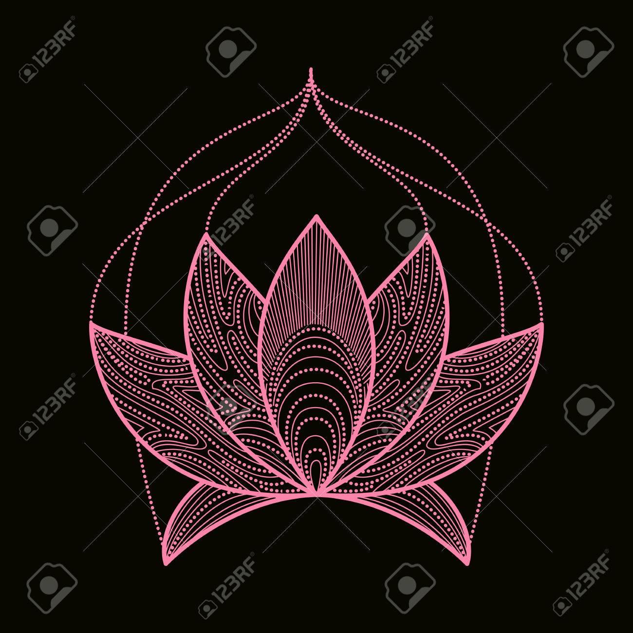 Tires Des Elements De Lotus Henne De Fleurs A La Main Le Yoga