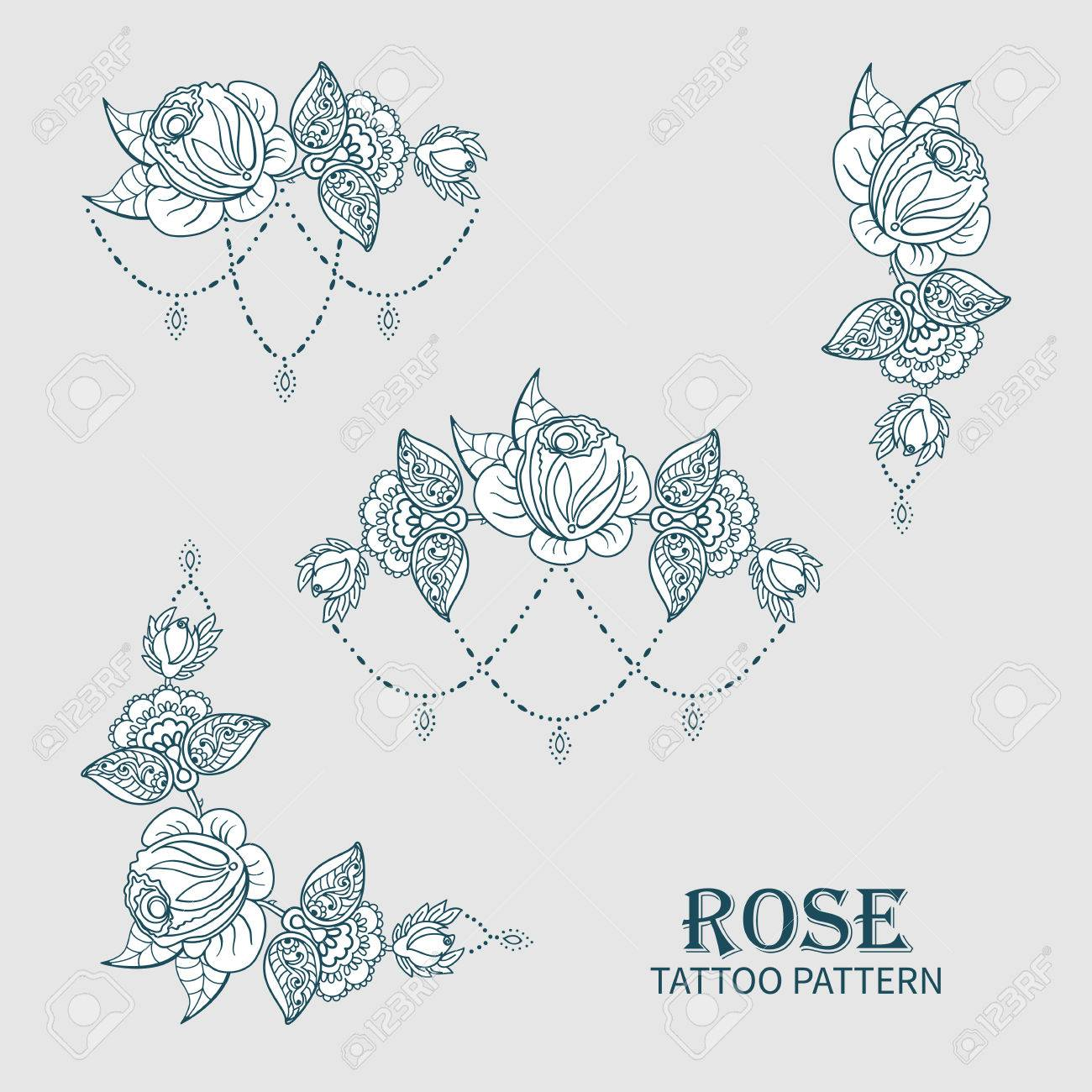 Hand Drawn Set Of Rose Ornament Of Floral Elements For Henna