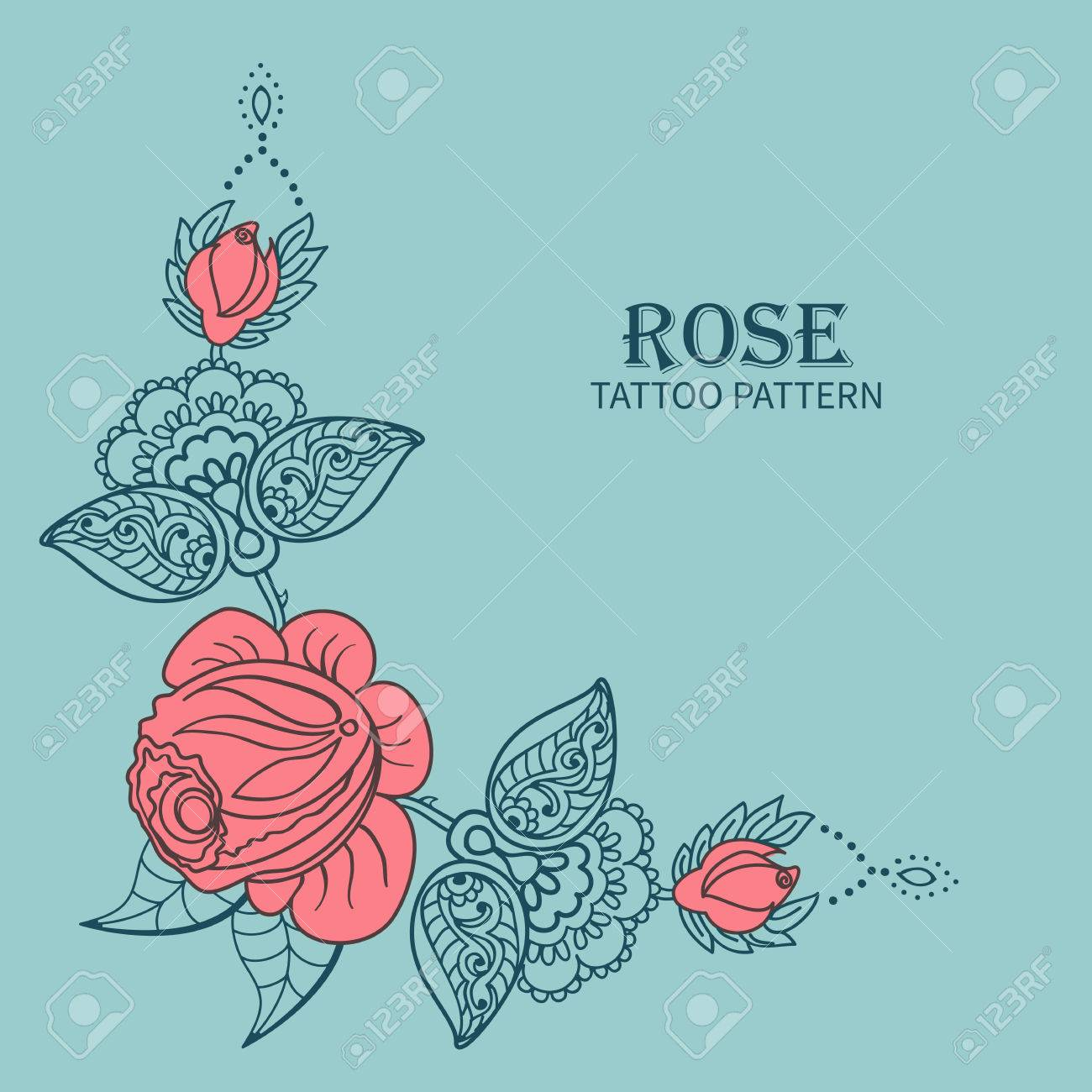 Tire Par La Main Rose Ornement D Elements Floraux Pour Tatouage Au