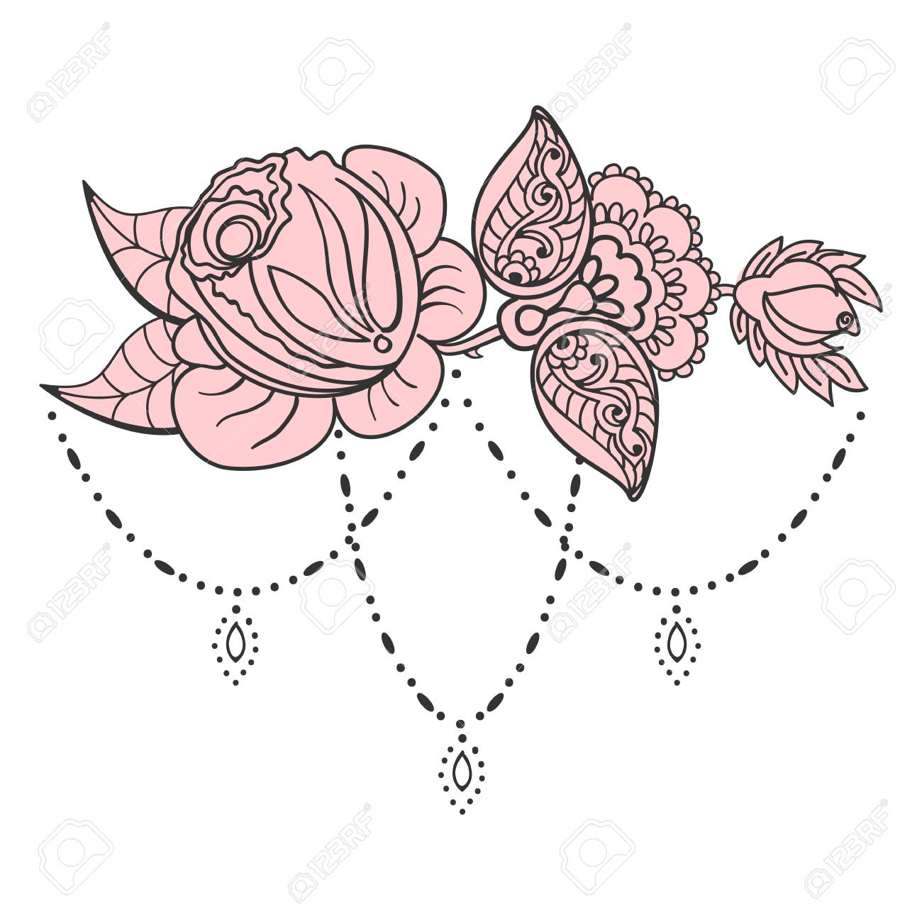 Hand Drawn Rose Ornament Of Floral Elements For Henna Tattoo