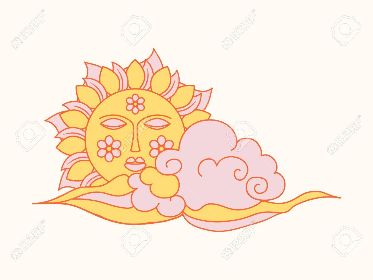 Mano Sol Dibujado Con La Cara Y Las Nubes, Icono Del Tiempo ...