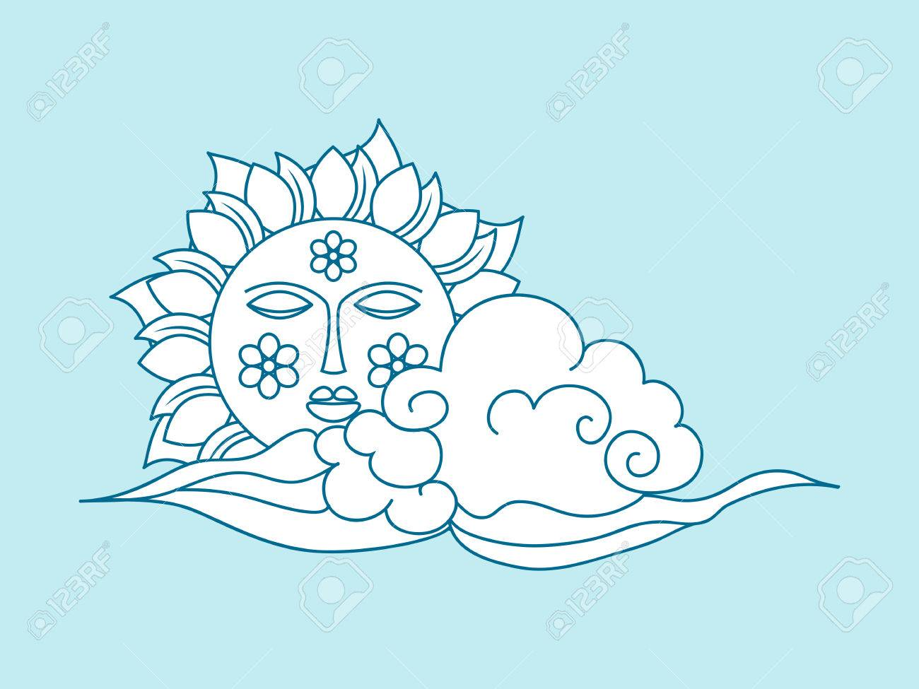 Hand drawn sun with face and clouds, weather icon. Coloring book..