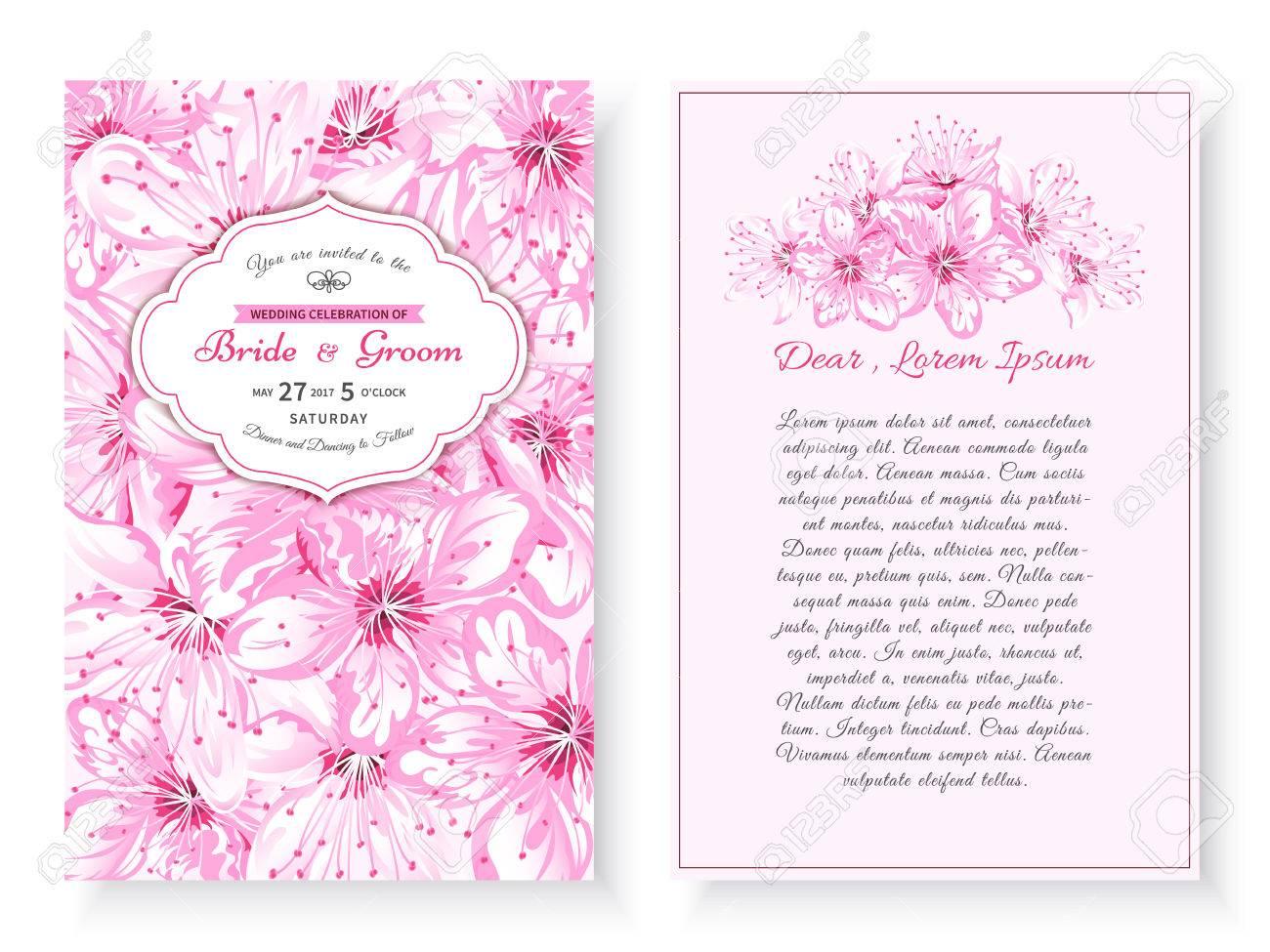 Vintage Floral Background.Wedding Card Or Invitation With Frame ...