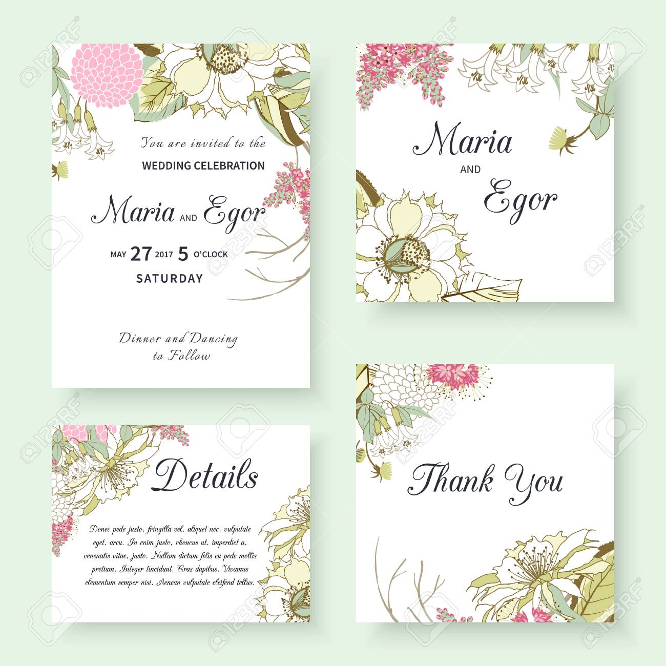 Wedding Invitation Templates With Spring Flower Designs Royalty