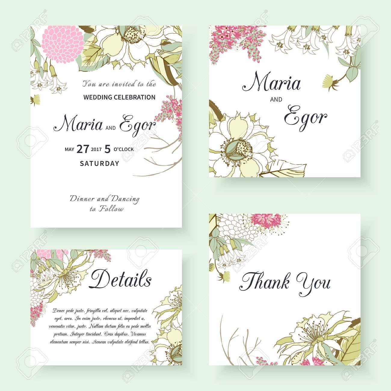 Wedding Invitation Templates With Spring Flower Designs