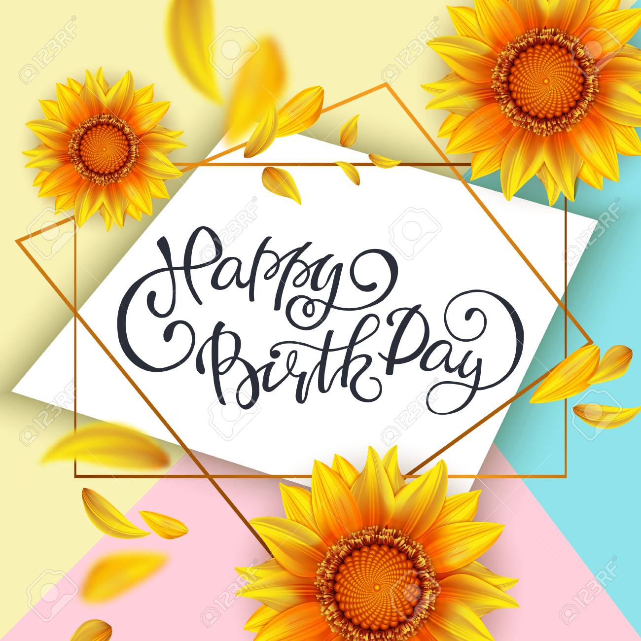 Lettering Happy Birthday Card Template With Yellow Sunflowers