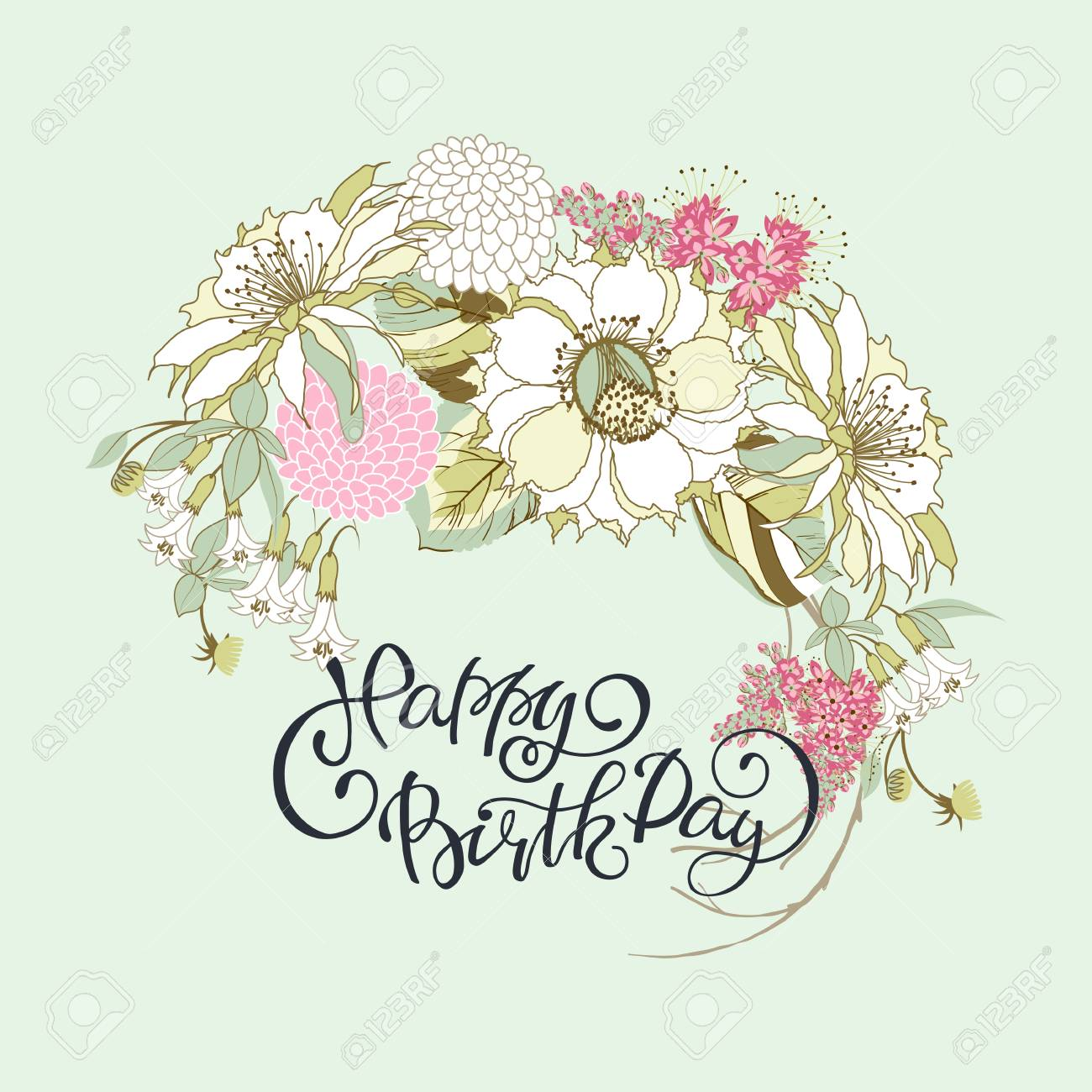 Lettering Happy Birthday On Vintage Card With Flower Bouquet ...