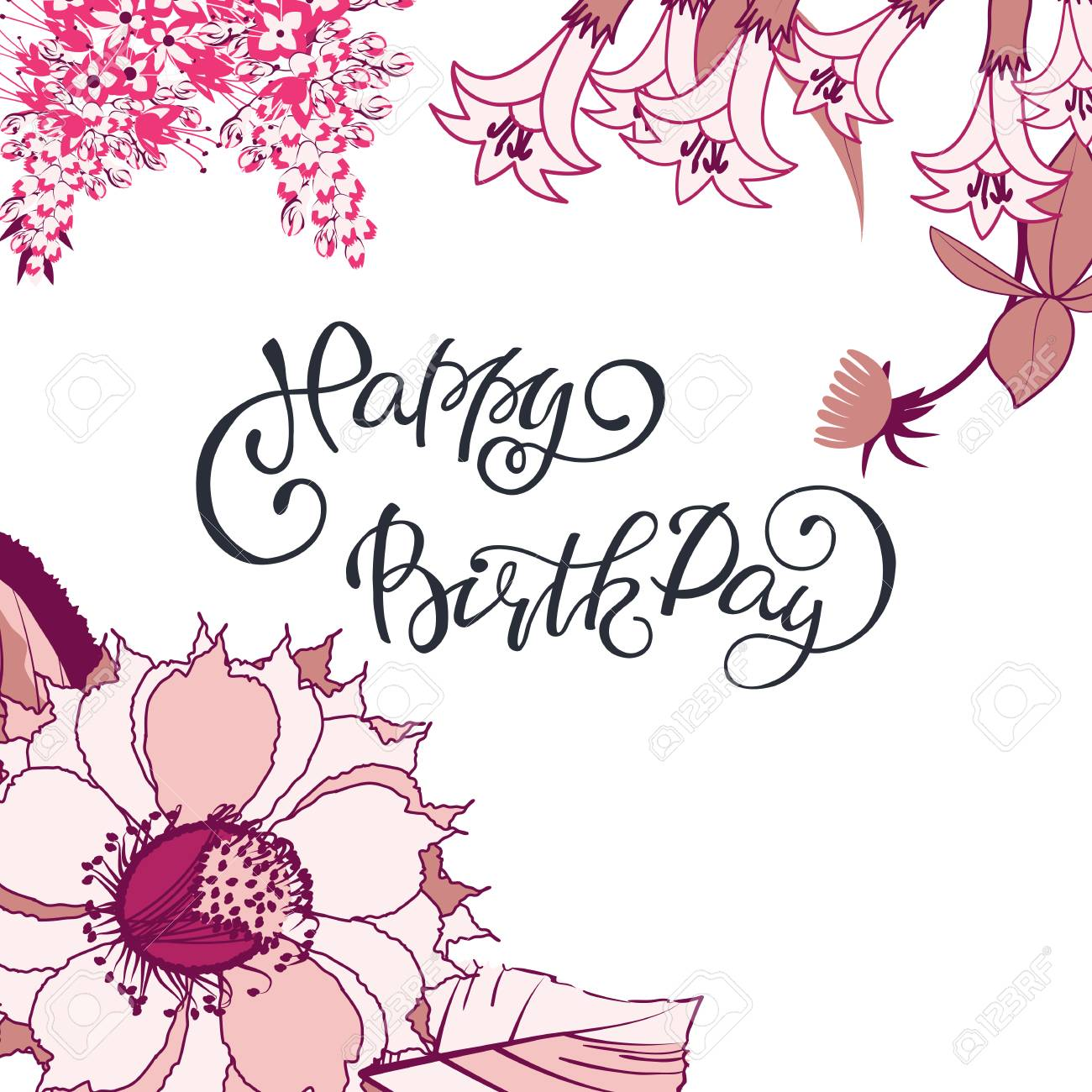 Lettering Happy Birthday On Vintage Card With Flower Border Of Royalty Free Cliparts Vectors And Stock Illustration Image 99737358