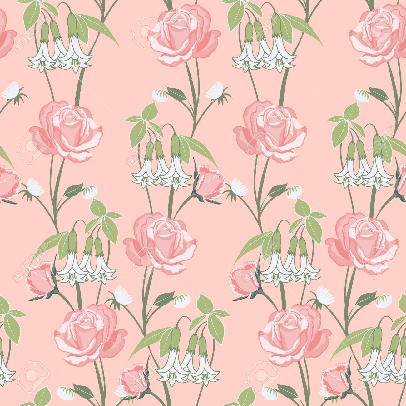 Vector Seamless Pattern Of Floral Ornament Of Roses And Wild