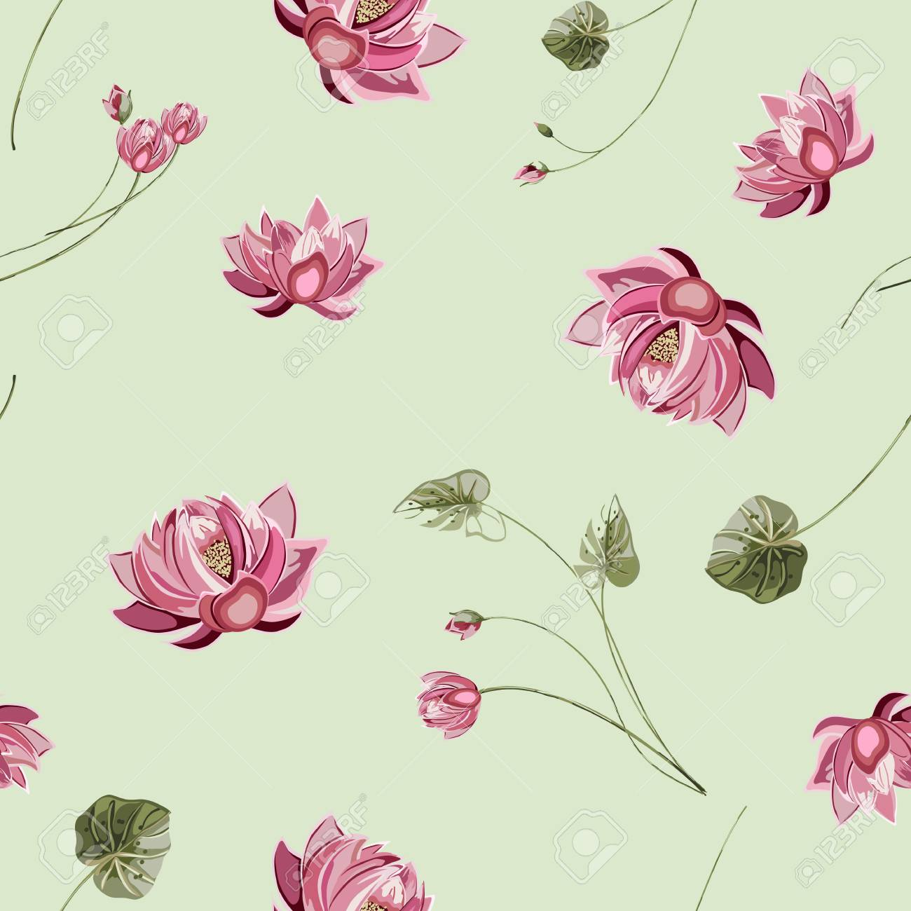 Trendy Floral Background With Lotus Flower And Green Leaves In