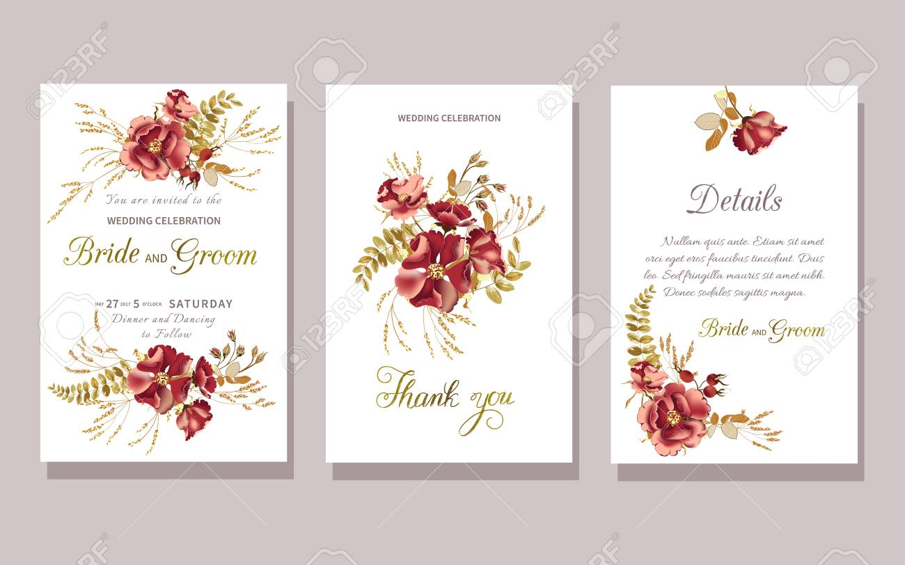 Set Of Floral Wedding Invitation With Beautiful Burgundy Rose