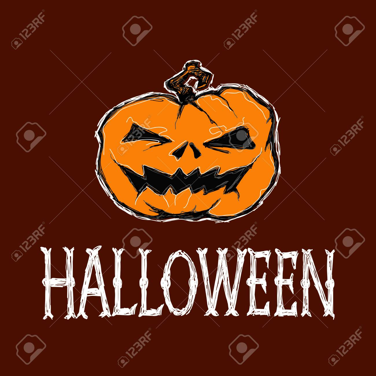 Halloween Vector Illustration Creepy Pumpkin And Letters Drawing