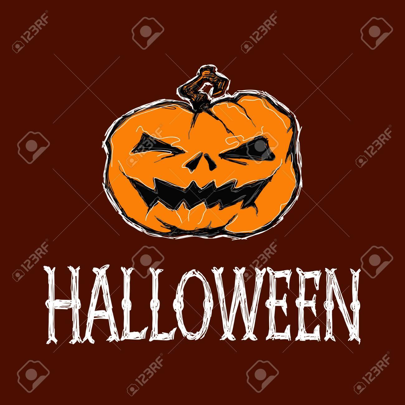 Zucche Di Halloween Terrificanti.Illustrazione Vettoriale Di Halloween Zucca Terrificante E Le Lettere Disegno E Lettering E Fatto A Mano Sono Realizzati Con Gesso Bianco Su Sfondo
