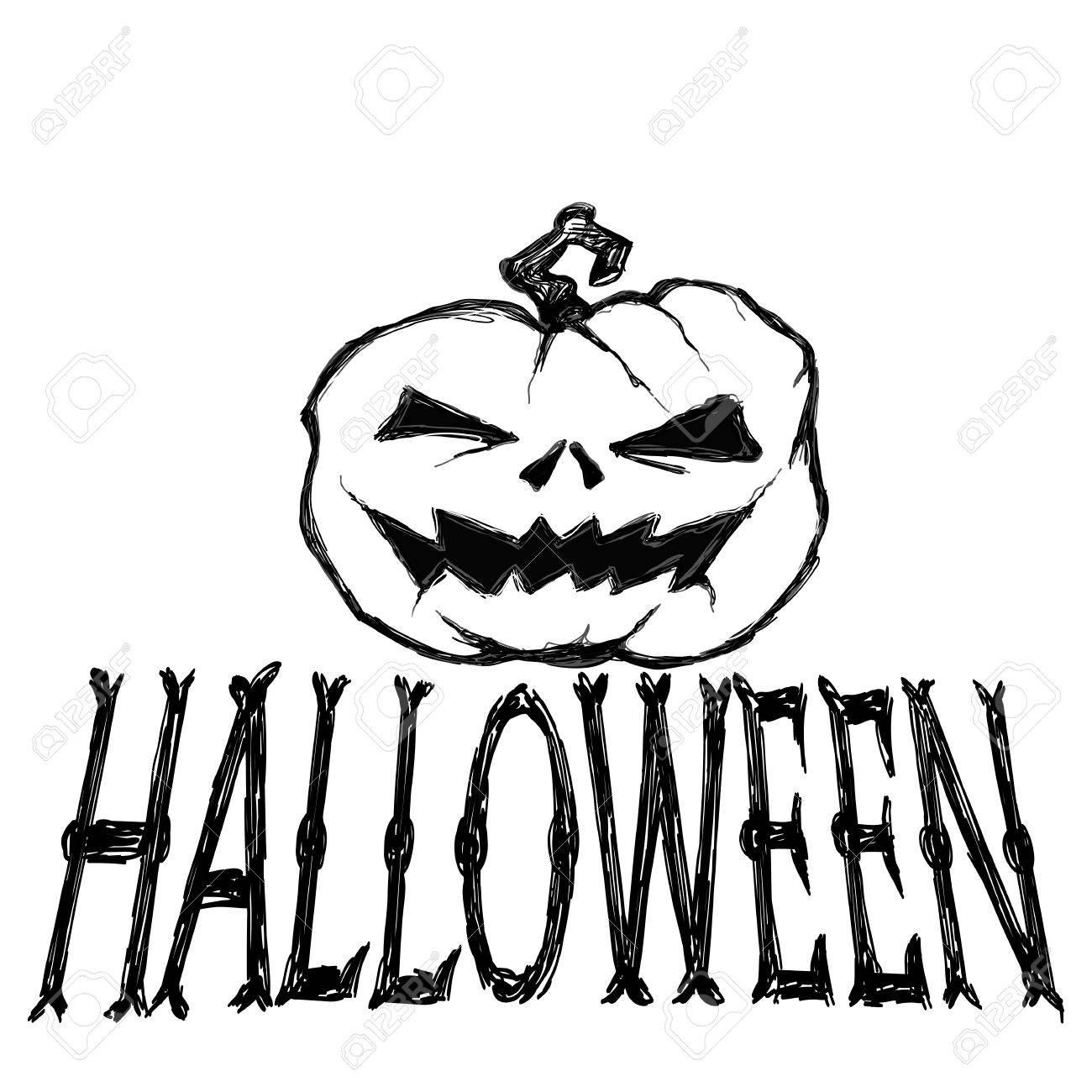 Creepy Halloween Pumpkin Drawings.Halloween Vector Illustration Creepy Pumpkin And Letters Drawing