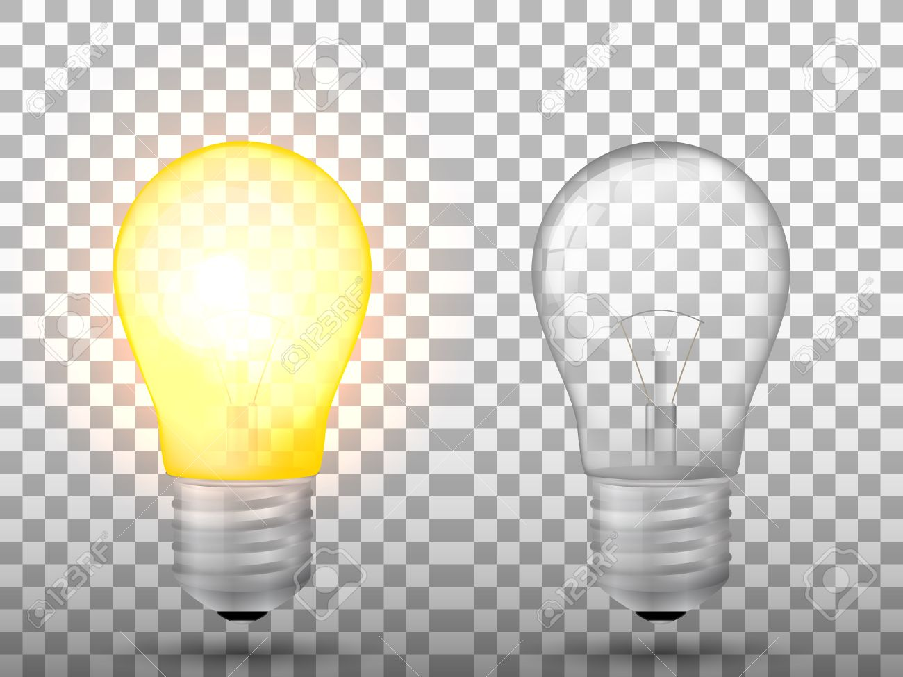 Lighted And Switched Off Light Bulb On A Transparent Background