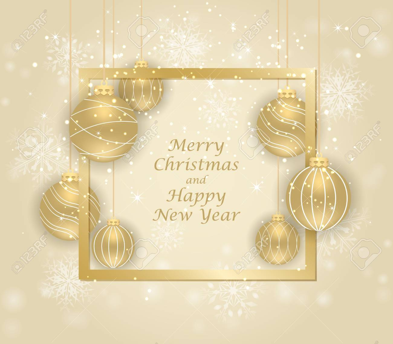 merry christmas and happy new year beautiful gift card with golden balls elegant golden